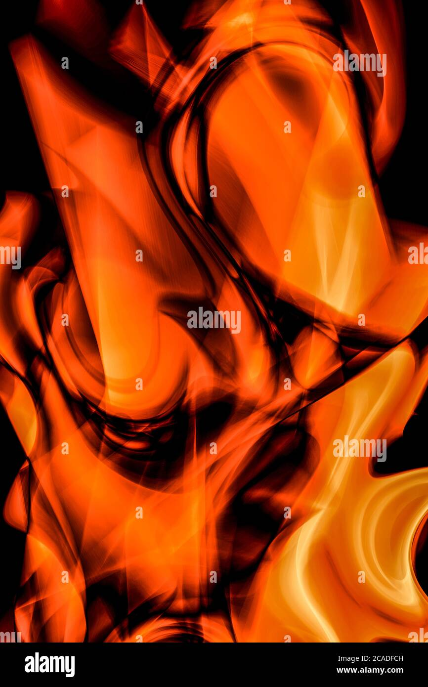 Abstract, twisted flames in Orange Stock Photo
