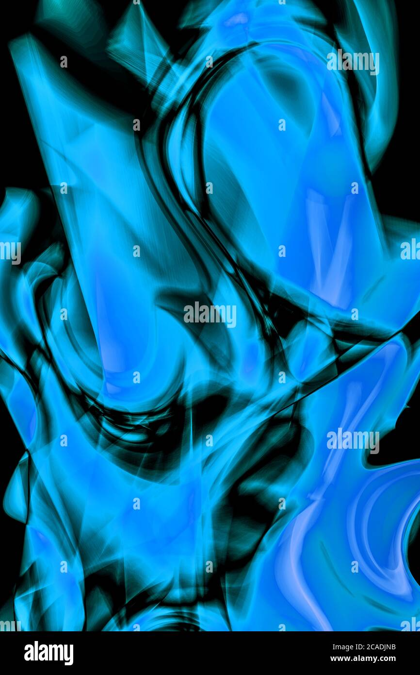 Abstract, twisted flames in Blue Stock Photo
