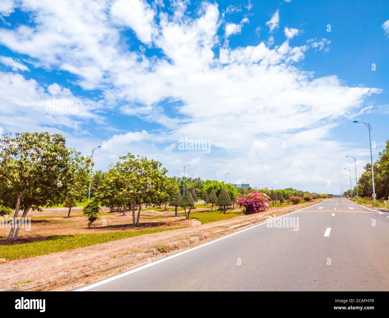 Beautiful view of wide open road with a paved highway stretching out as far as the eye can see with small green hills, pink flowers under a bright Stock Photo