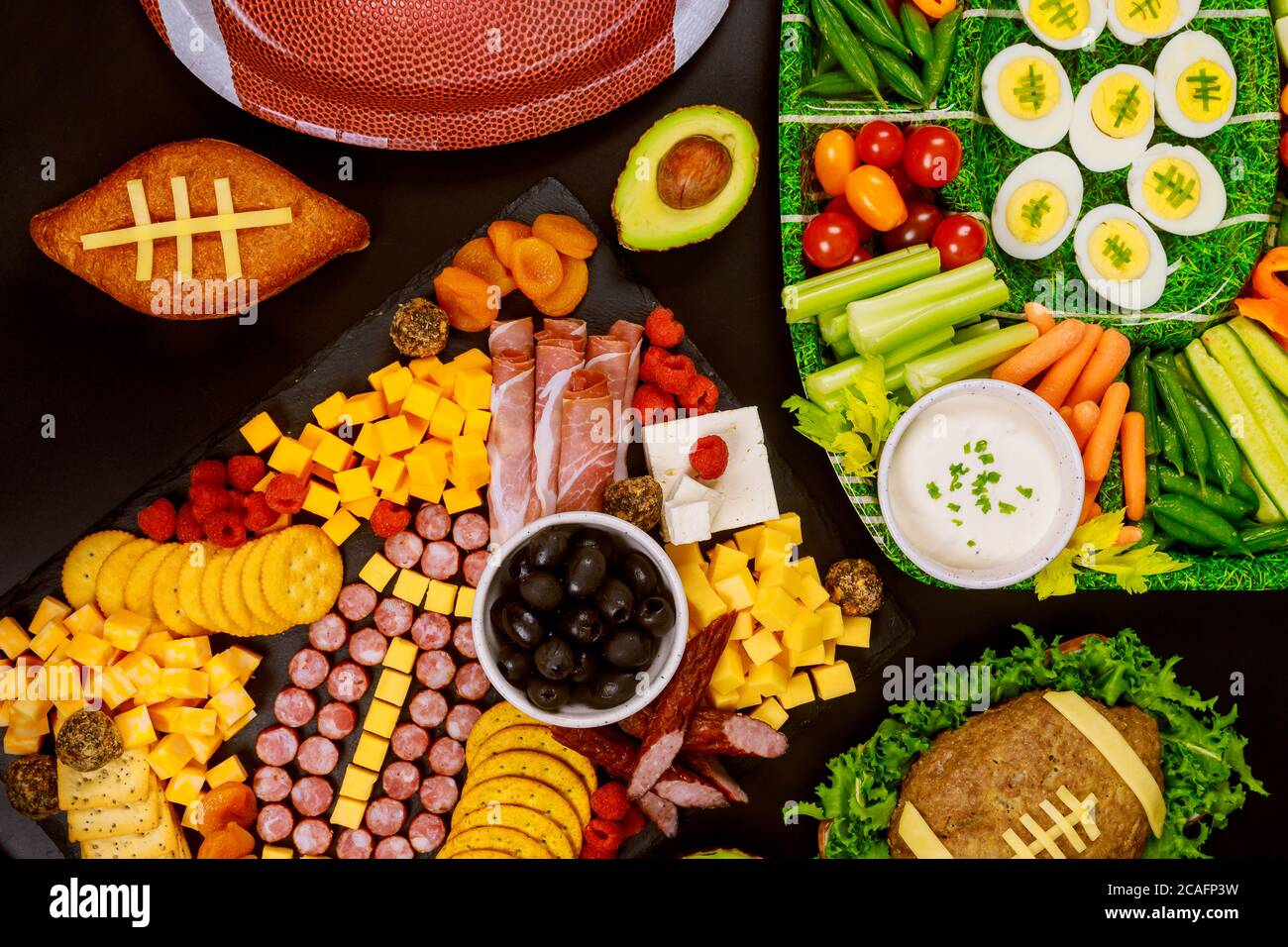 Fresh Cut Vegetable Platter With Charcuterie Appetizer For American Football Game Party Stock Photo Alamy