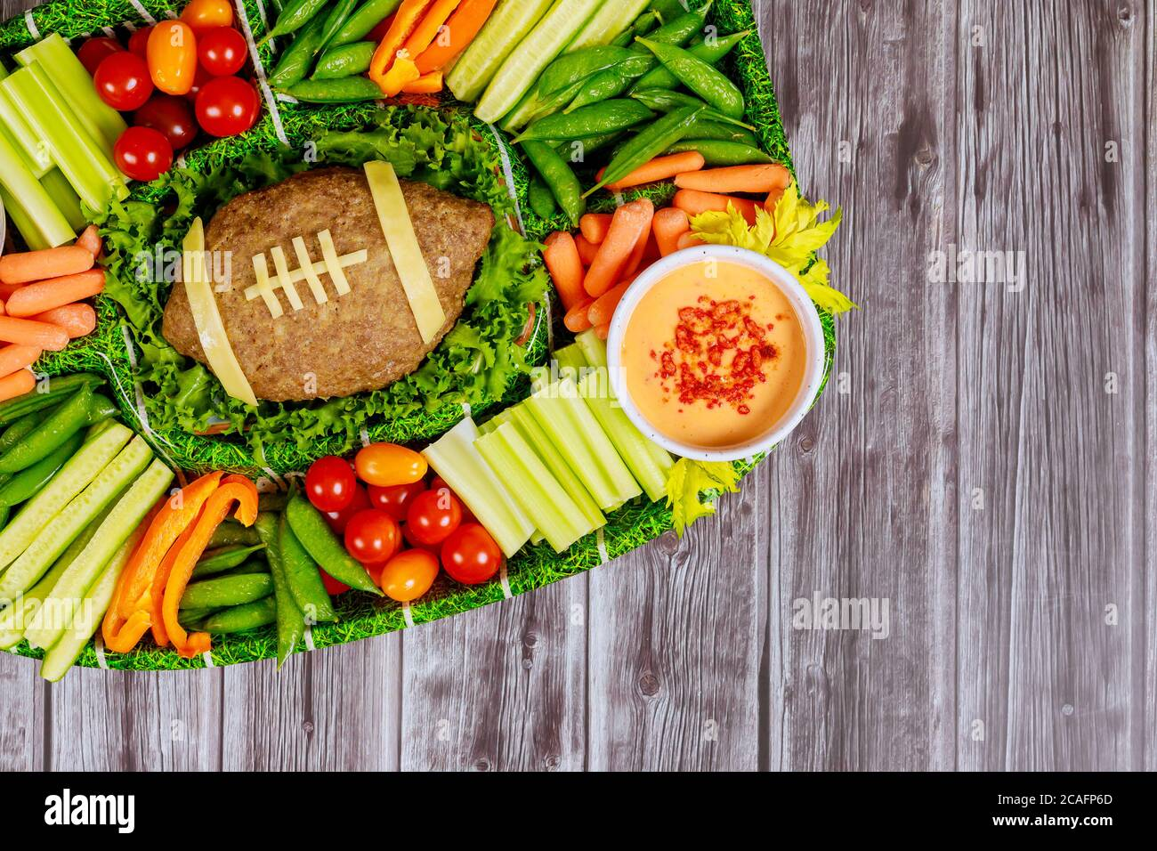 Football Meatloaf With Fresh Vegetable Platter And Dipping For Super Bowl Fan Party Stock Photo Alamy