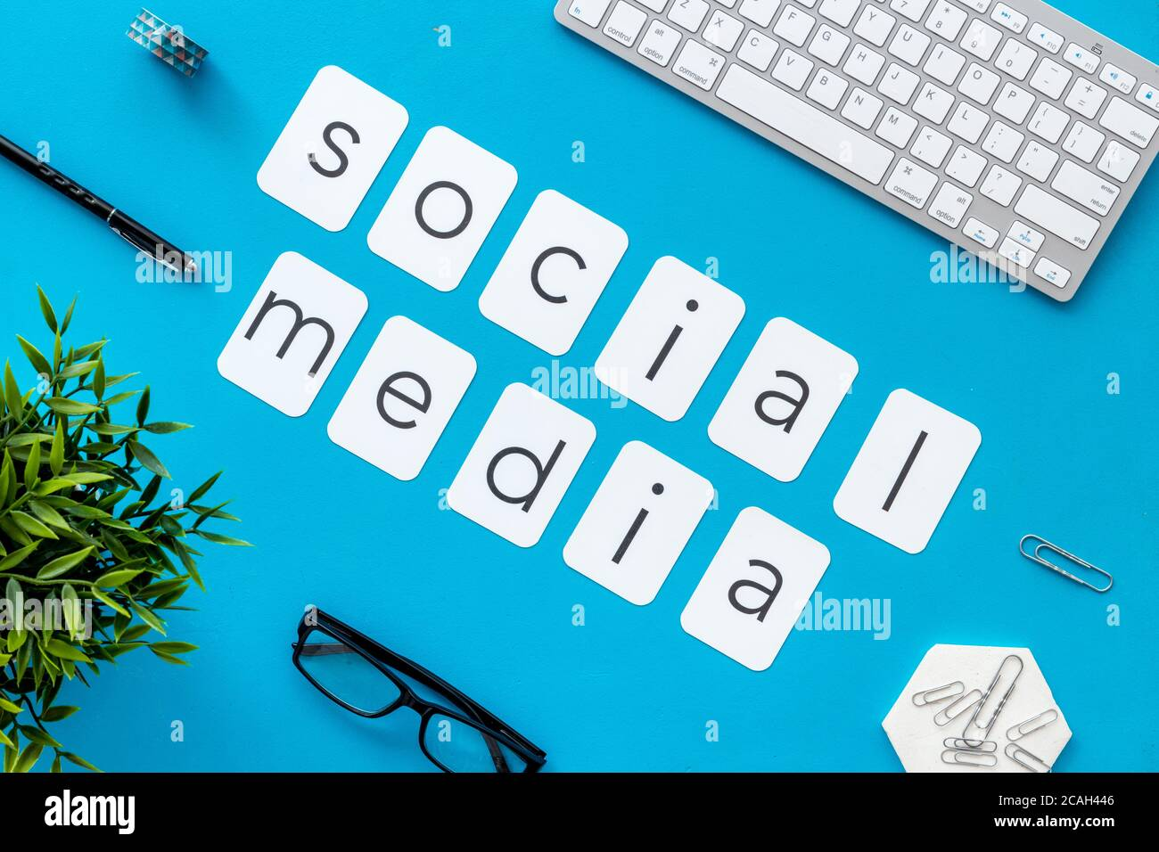 Above view of web network media marketing job. Office table flat lay Stock Photo