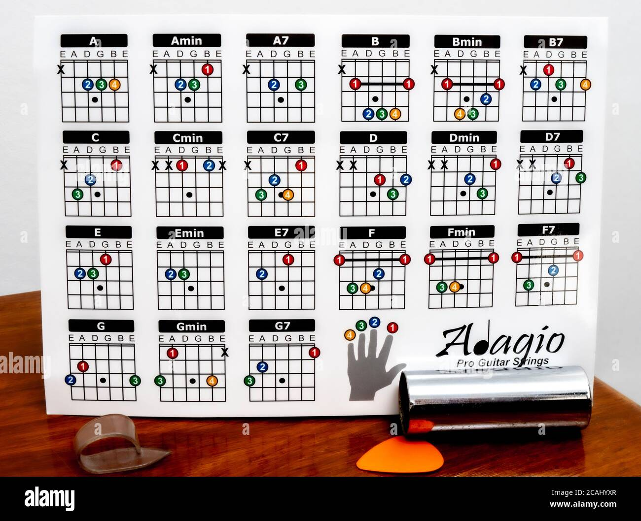 Adagio guitar chord chart with accessories in front. The six ...