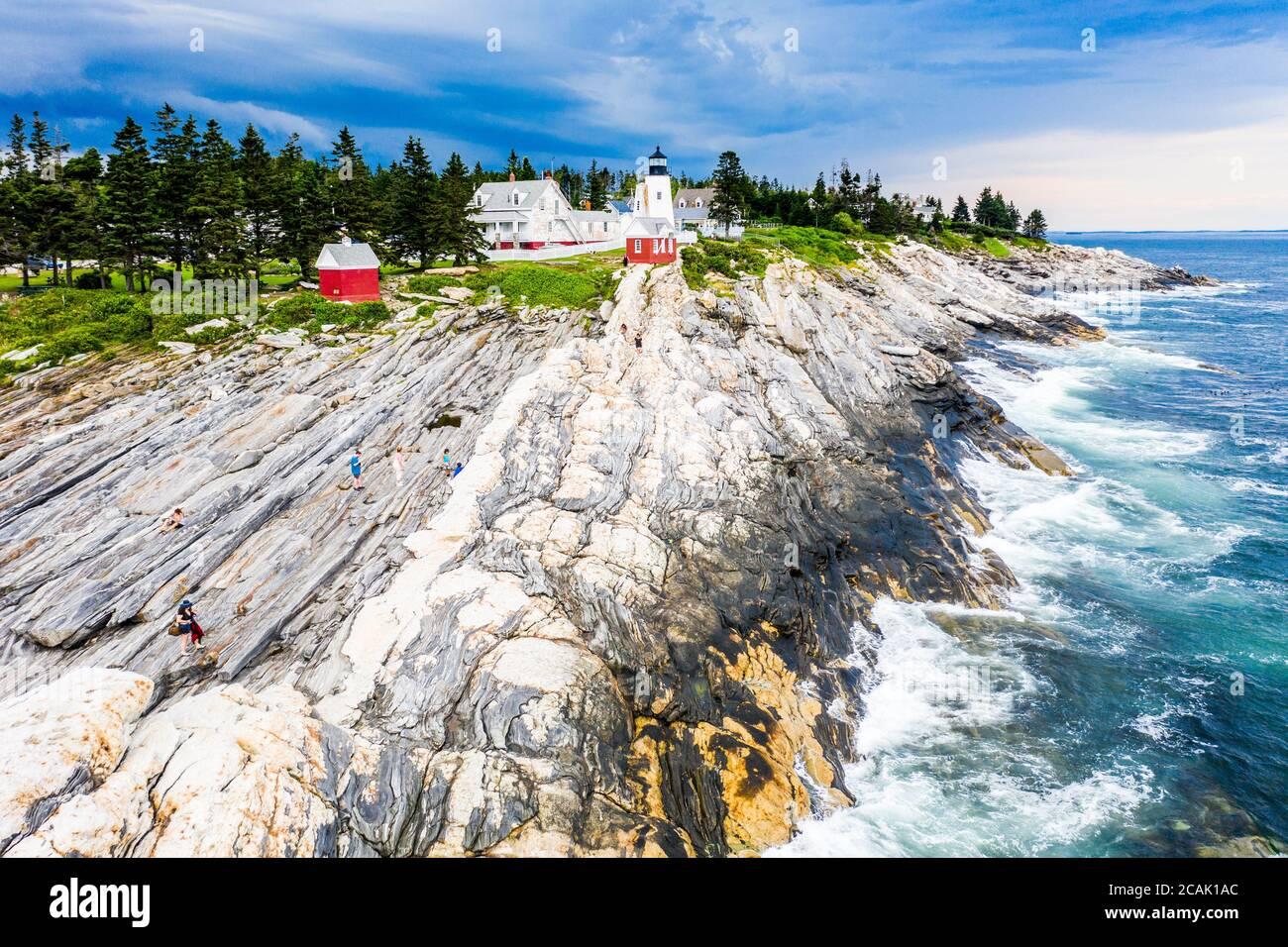 Pemaquid Point Lighthouse, Bristol, Maine, USA Stock Photo