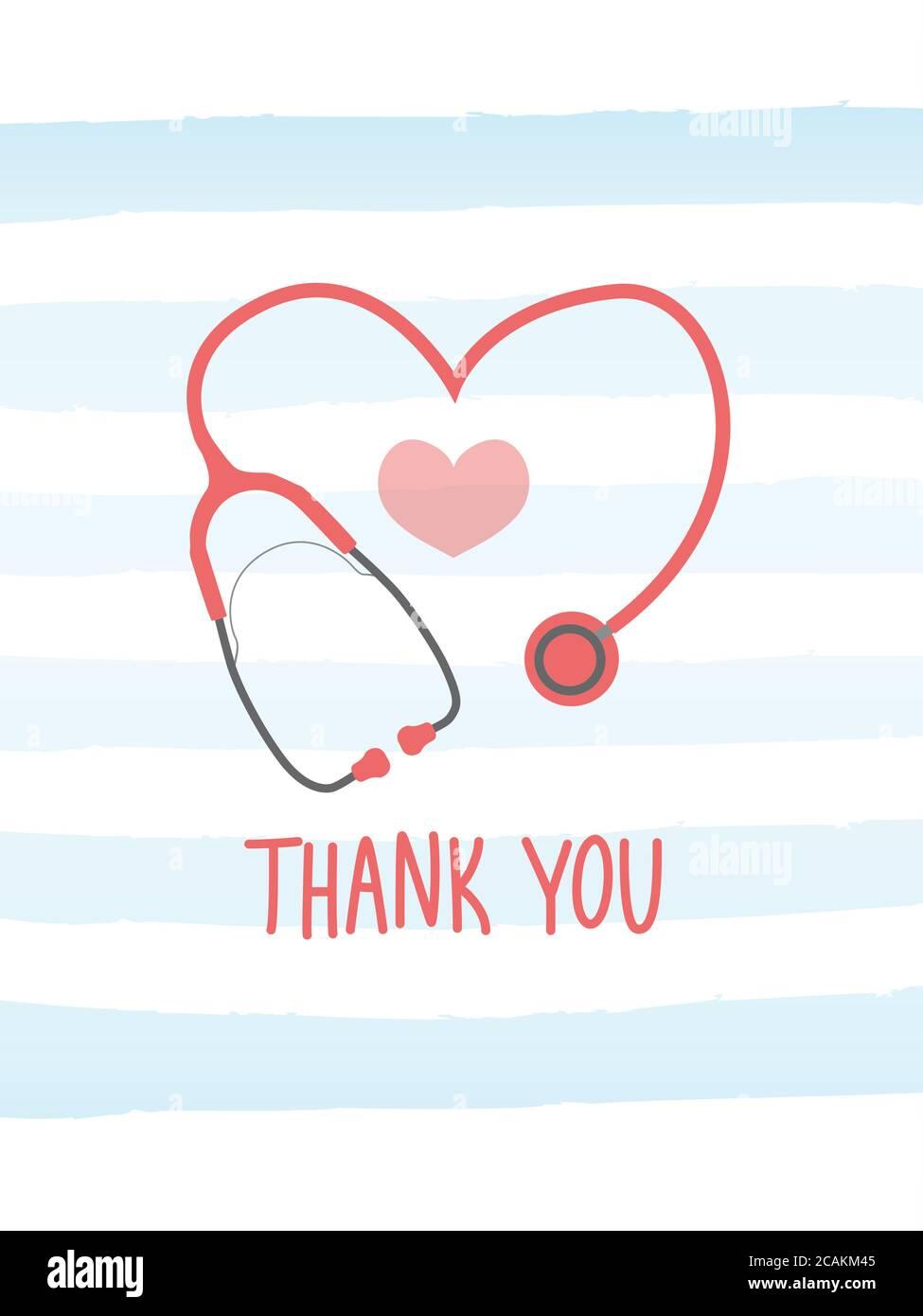 Nurse Appreciation Card Nurse Thank You Card Stethoscope Card Nurse Heart Card Nurse Stethoscope Heart Doctor Card