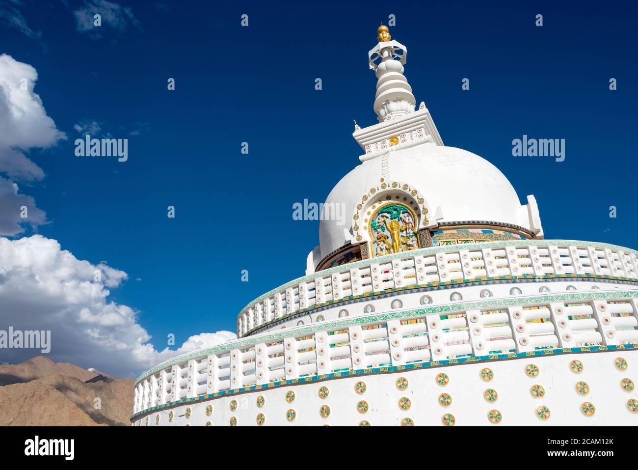 Ladakh, India - Shanti Stupa in Leh, Ladakh, Jammu and Kashmir, India. Stock Photo