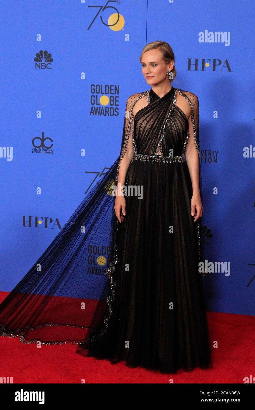 LOS ANGELES - JAN 7:  Diane Kruger at the 75th  Golden Globes Press Room at Beverly Hilton Hotel on January 7, 2018 in Beverly Hills, CA Stock Photo