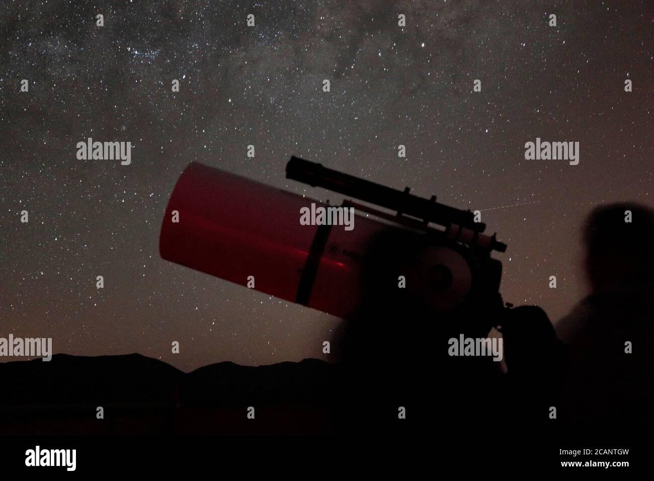 """""""Astronomy Tourism"""" - Observatorio del Pangue, near Vicuna, La Serena, central Chile 12 Oct 2017 Stock Photo"""