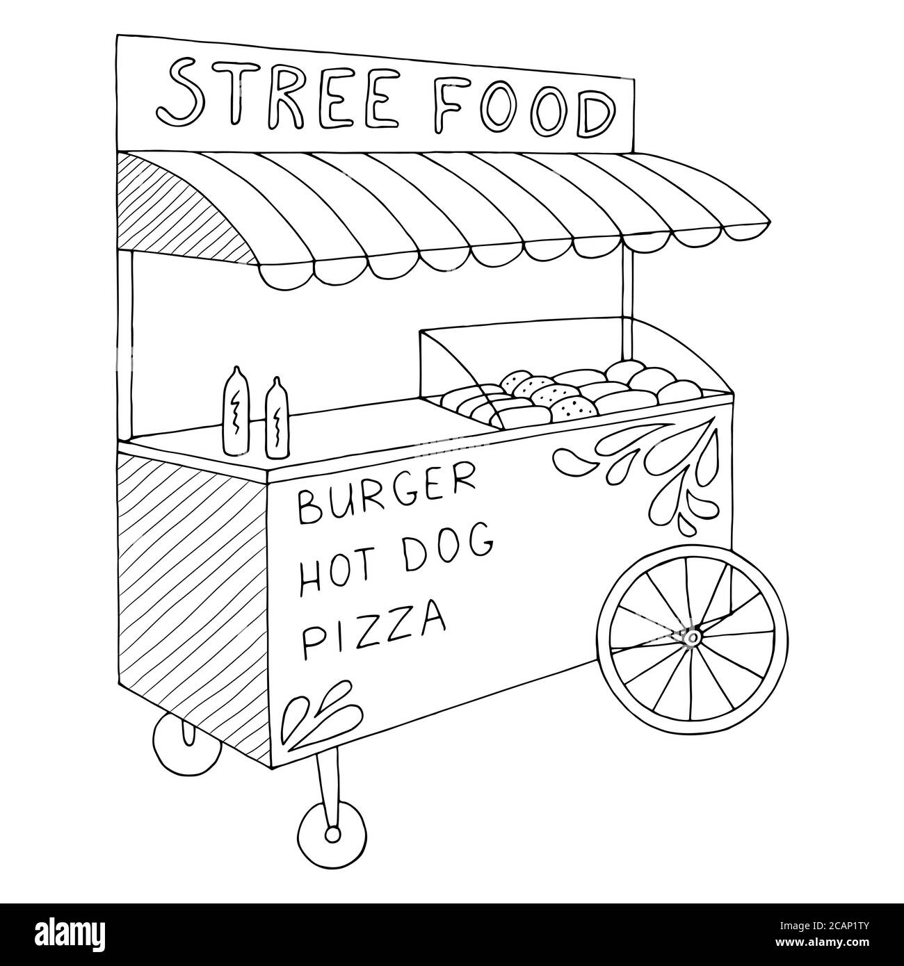 Food truck graphic black white isolated sketch illustration vector Stock Vector