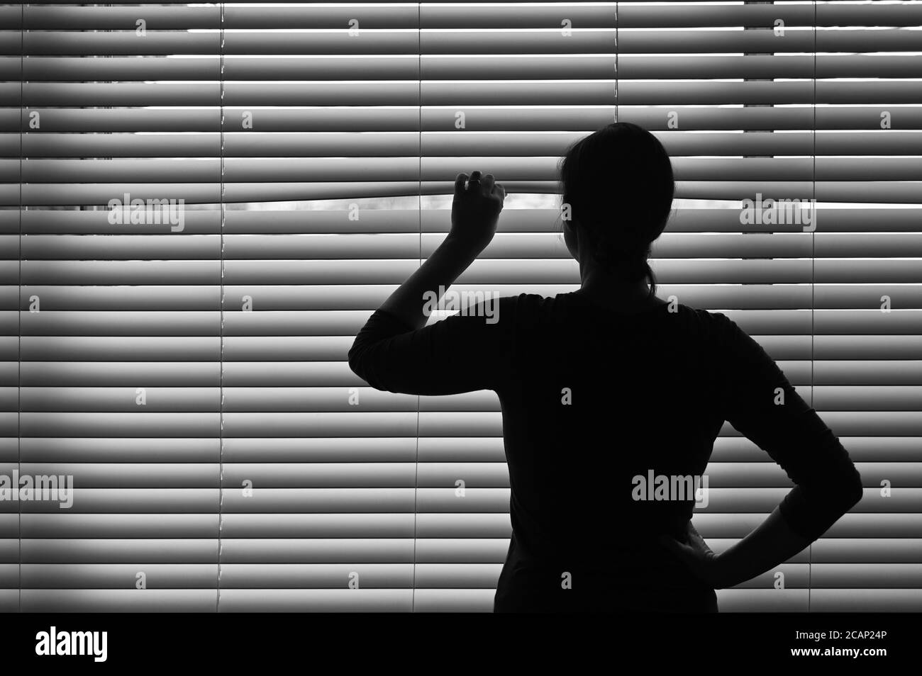 Middle age adult woman looking through a Venetian curtain blinds. Concept photo of person that have Pistanthrophobia and Agoraphobia, a suspicious per Stock Photo