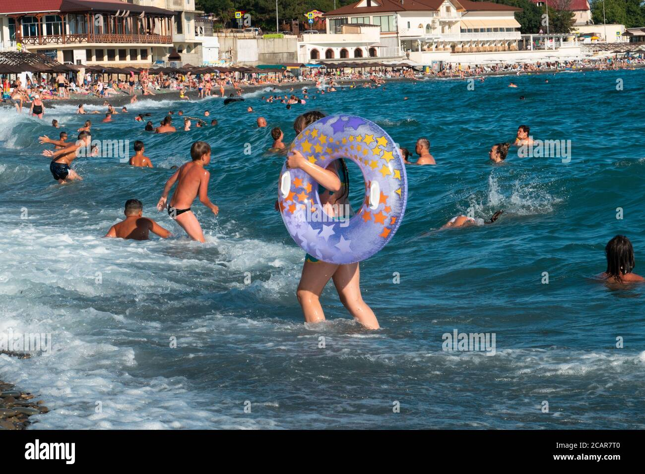 People On A Resort Of Krasnodar Krai Shirokaya Balka Beach Stock Photo Alamy