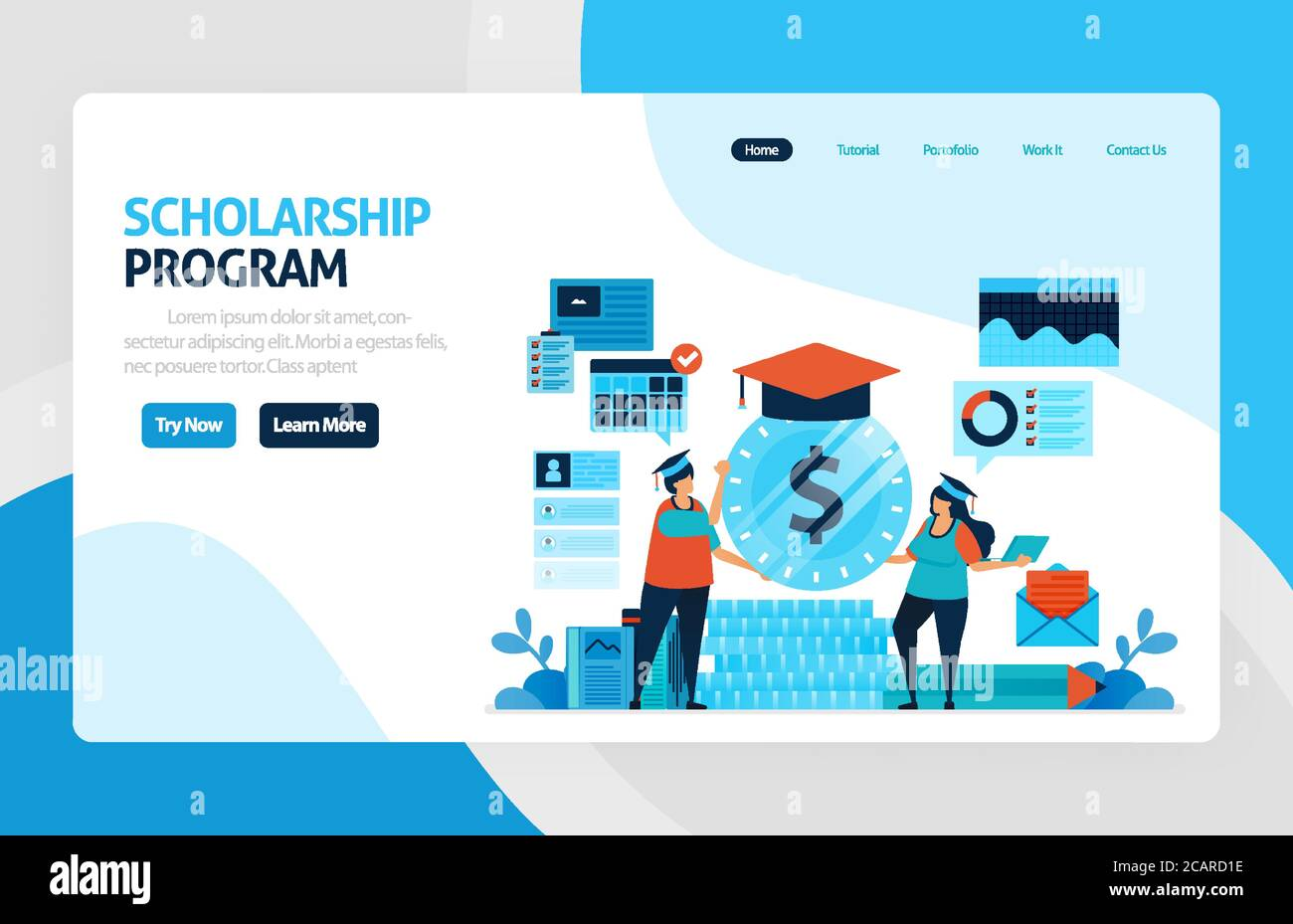 Vector Illustration Of Scholarship Education Program Learning Abroad Financial Funds And Study Loans For Education Academic Achievements School Co Stock Vector Image Art Alamy