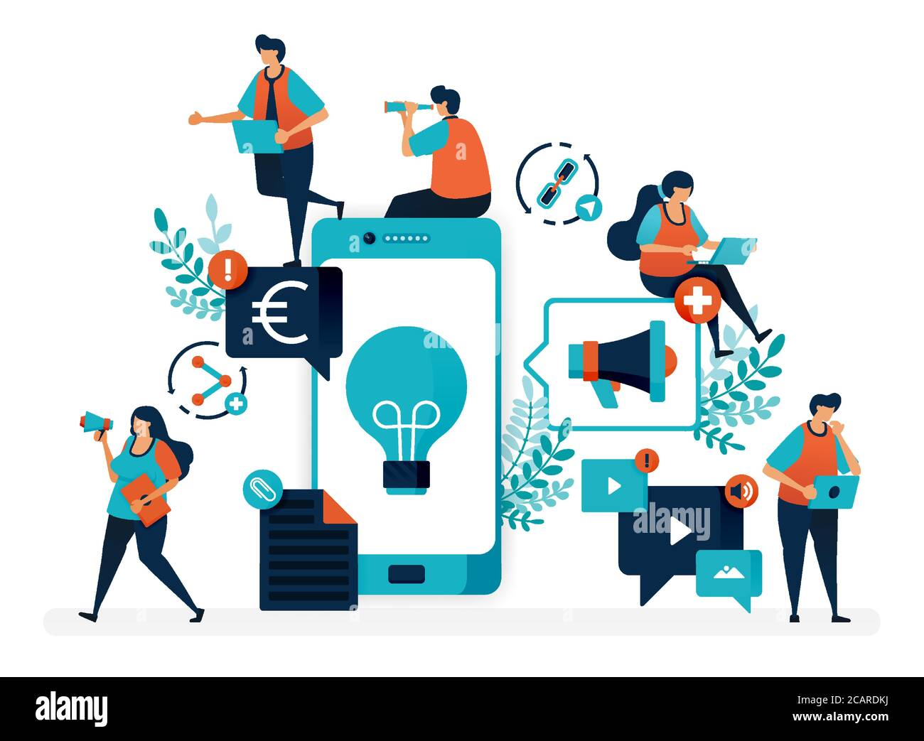 Business ideas by promoting products via mobile. Advertising and marketing with smartphone to profit. Flat vector illustration for landing page, web, Stock Vector