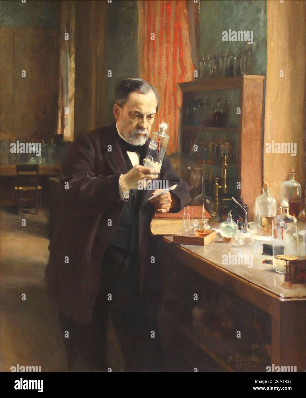 Louis Pasteur in his laboratory, painting by Albert Edelfelt in 1885 [ Louis Pasteur 1822 – 1895 French chemist and microbiologist renowned for his discoveries of the principles of vaccination, microbial fermentation and pasteurization] Stock Photo