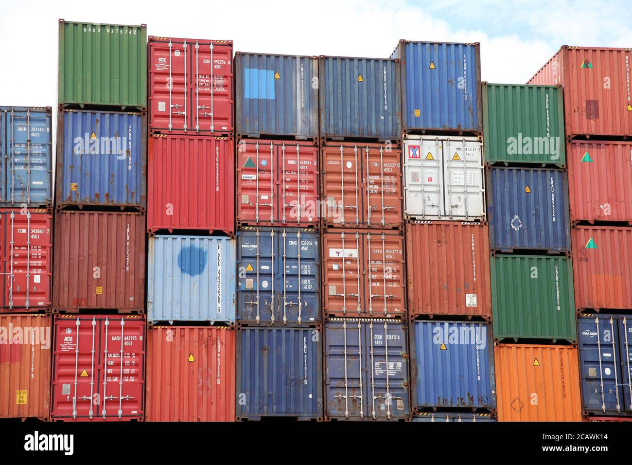 Southampton Port Shipping Containers stacked, Dock Gate 10, Southern Road, Southampton, England, UK, August 2020 Stock Photo