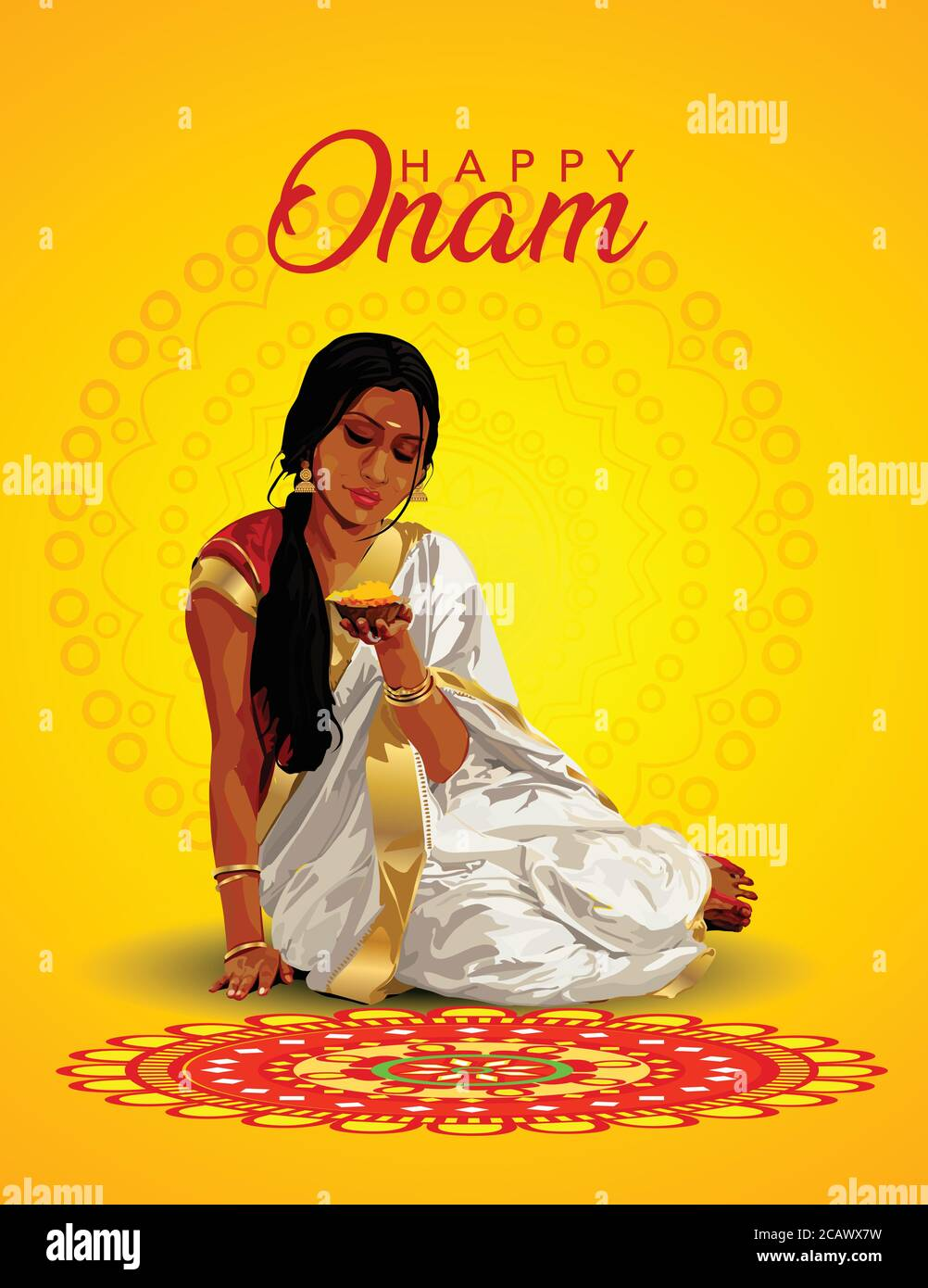 Happy Onam Greetings Vector Illustration Illustration Of Woman Making Pookalam For Onam Stock Vector Image Art Alamy