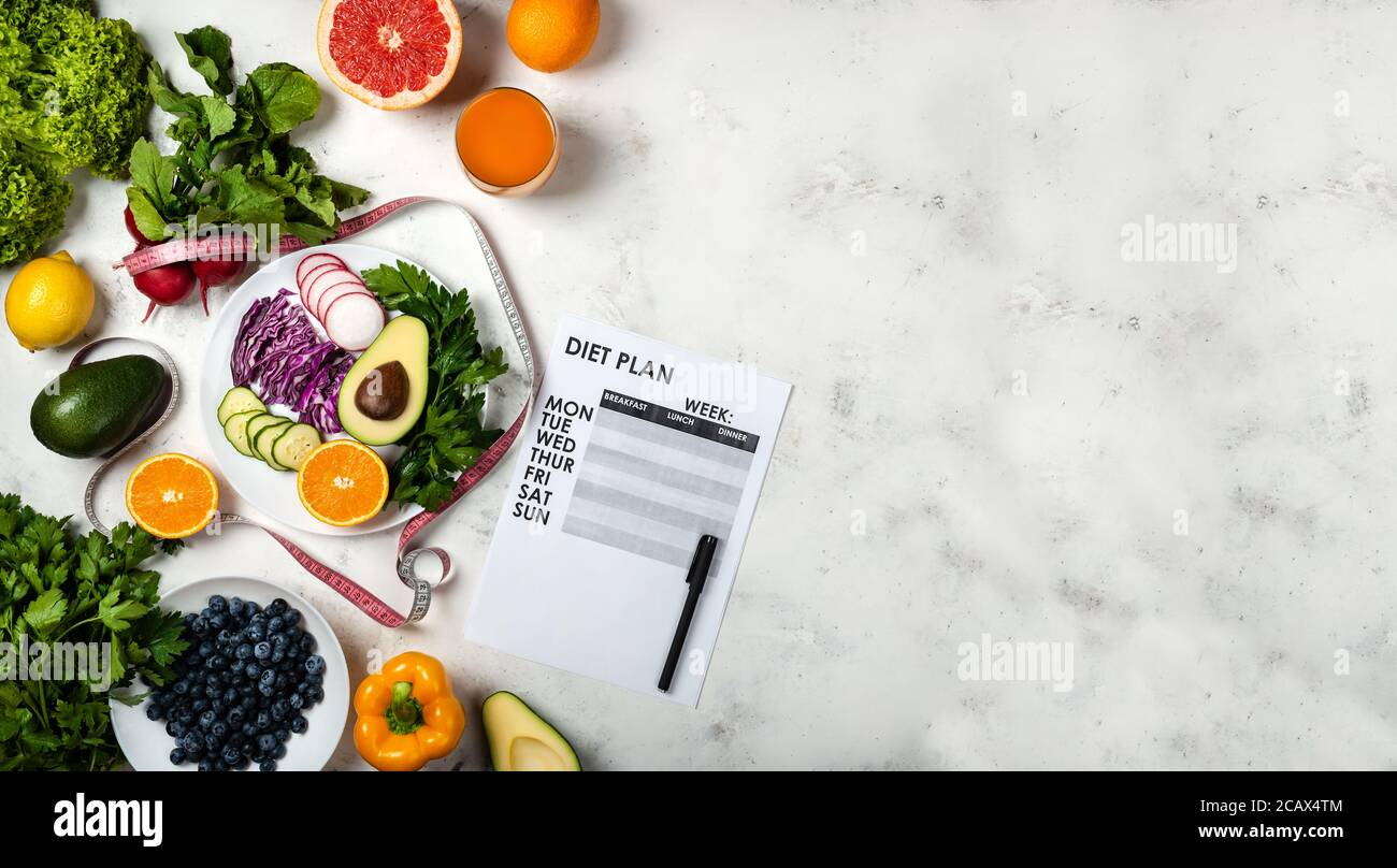 Weight Loss Program Diet Plan And Set Fresh Products Top View Copy Space Stock Photo Alamy