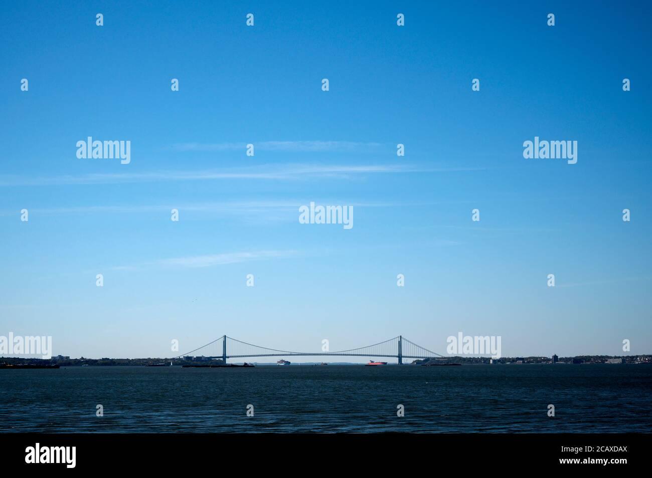 NY harbor and Verrazzano Narrows Bridge views from Liberty State Park. Jersey City, NJ. Stock Photo