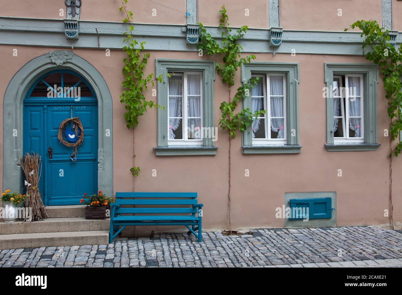 geography / travel, Germany, Bavaria, Volkach, grape vine to an home in Volkach, Lower Franconia, Fran, Additional-Rights-Clearance-Info-Not-Available Stock Photo