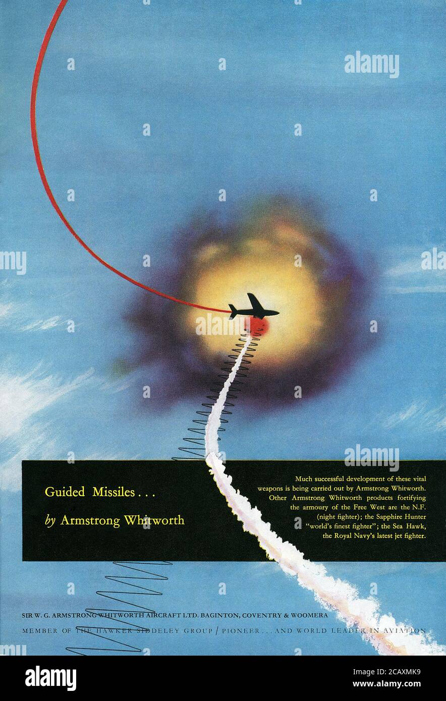 1950s British advertisement for guided missiles by Sir W. G. Armstrong Whitworth Aircraft Ltd. Stock Photo