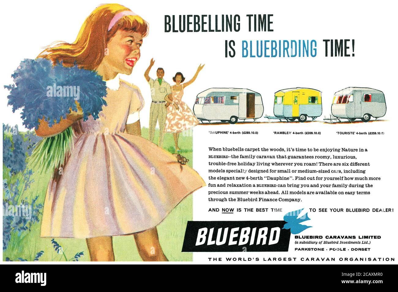 1960 British advertisement for Bluebird caravans. Stock Photo