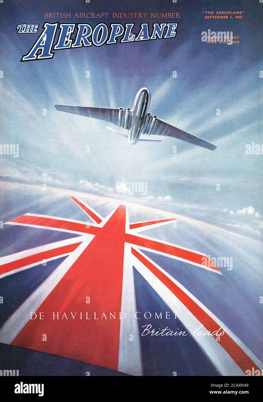 Vinatge front cover of The Aeroplane magazine, featuring an advertisement for the De Havilland Comet jet airliner. Stock Photo