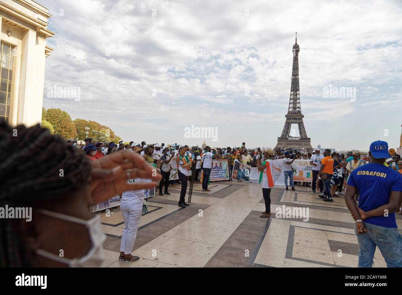 Paris, France. 8th August, 2020. Meeting of Ivorian opposition parties for the respect of the constitution on the human rights square at Trocadéro. Stock Photo