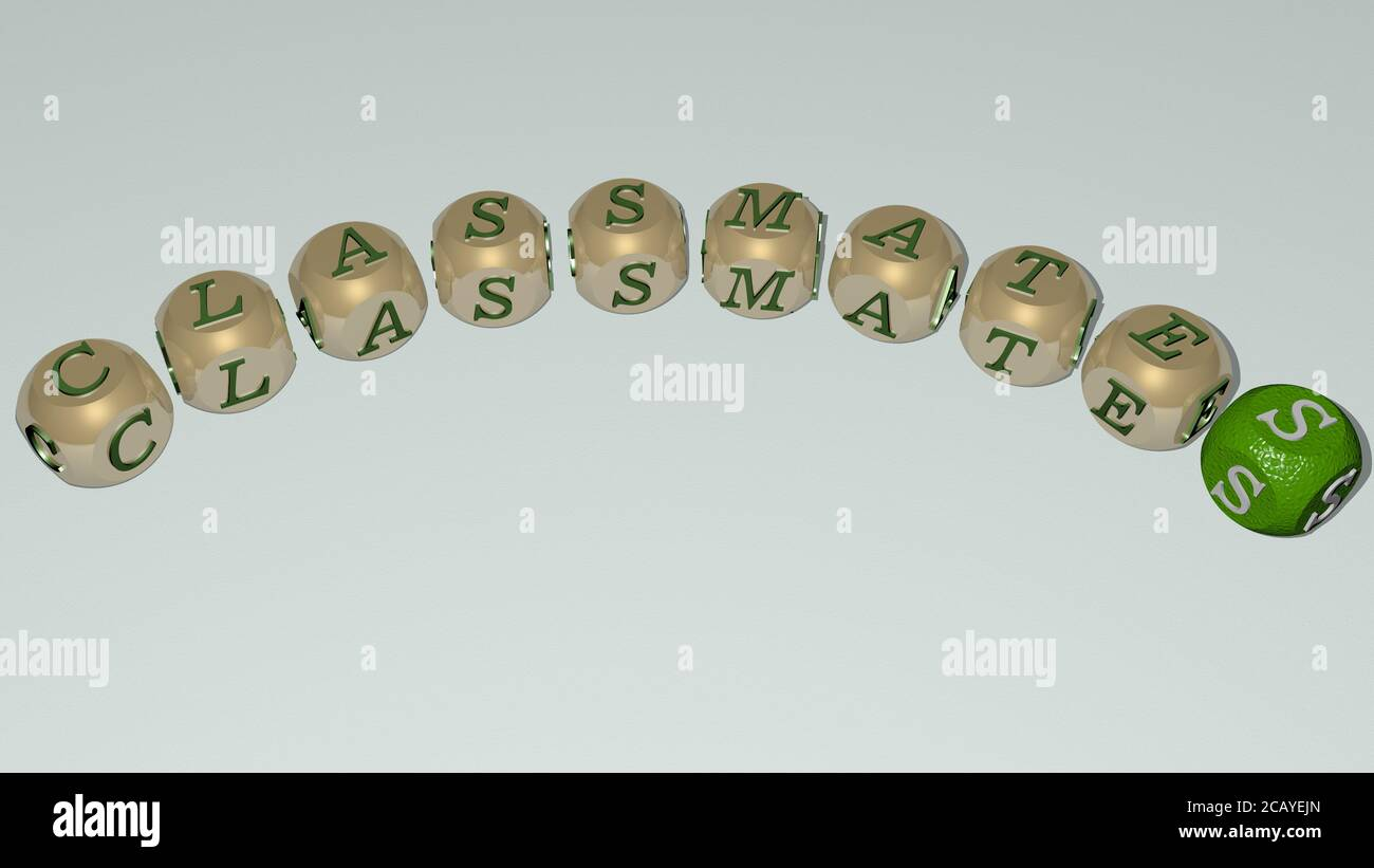 classmates curved text of cubic dice letters. 3D illustration. school and education Stock Photo