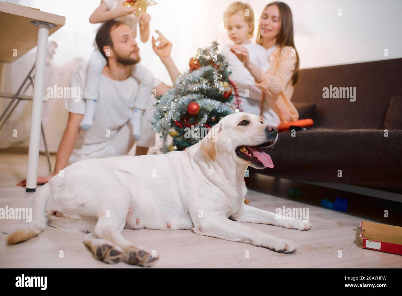 Is There Goingvto Be A Christmas Tree 2020 excited parents and children decorating christmas tree together at