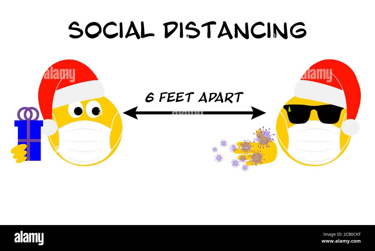 Feaet Of Christmas 2020 Social distancing Christmas holidays emoji, Coronavirus, covid 19