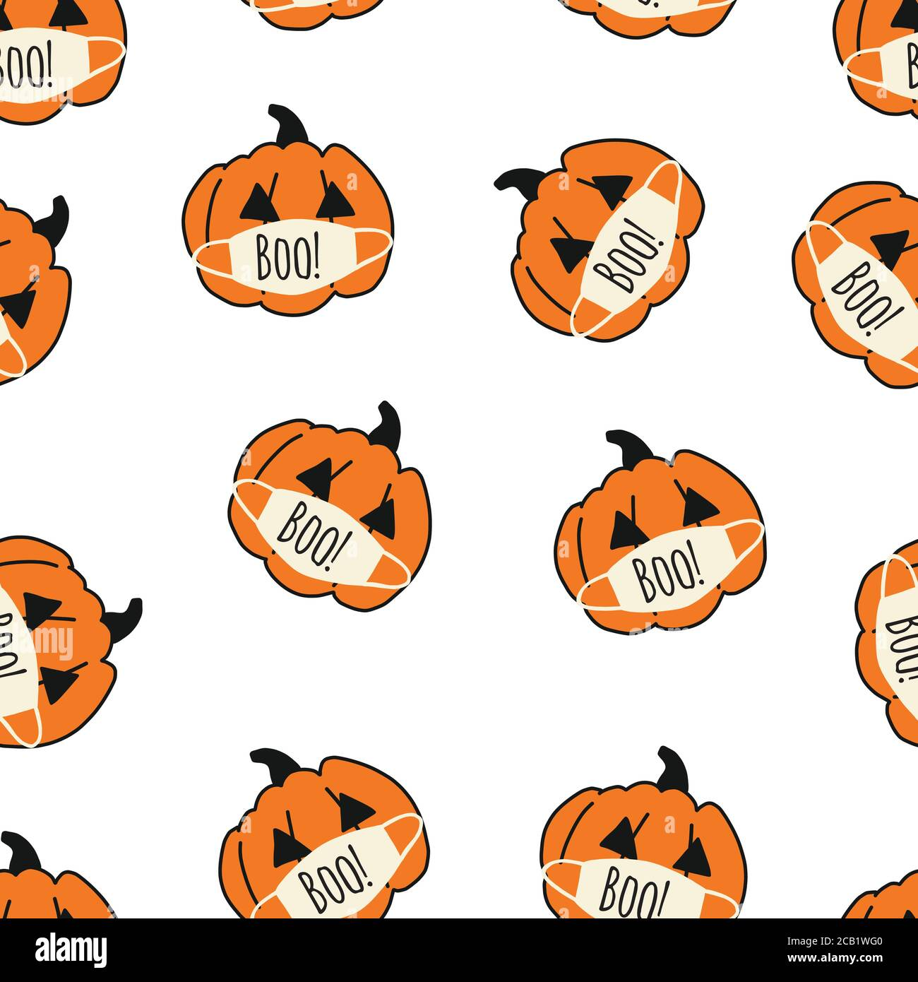 2020 Halloween Background Corona Halloween Pumpkin Seamless Vector Pattern. Pumpkins wearing