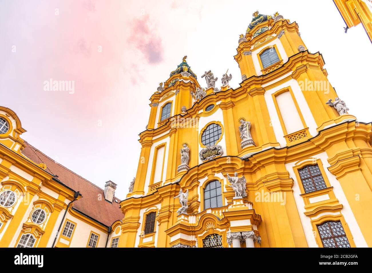 Melk Abbey Church. Main portal with two towers. Melk, Austria. Stock Photo