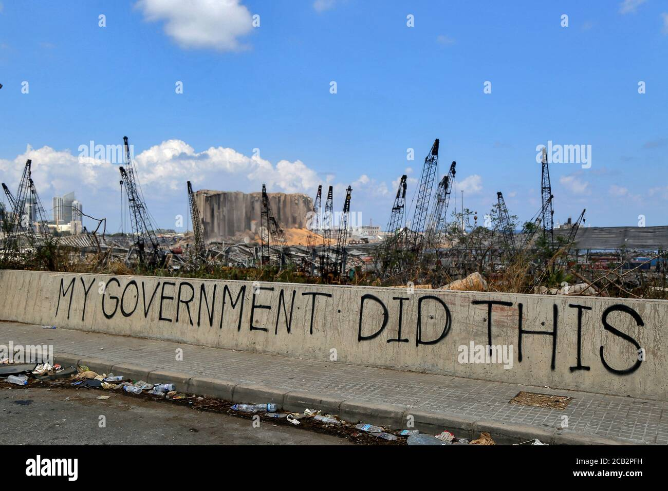 """Beirut, Lebanon. 10th Aug, 2020. """"My government did this"""" is seeen written on a wall at the site of the massive Beirut port explosion of 04 August which killed at least 158 people, wounded 6000 and displaced some 250,000 to 300,000. Credit: Marwan Naamani/dpa/Alamy Live News Stock Photo"""