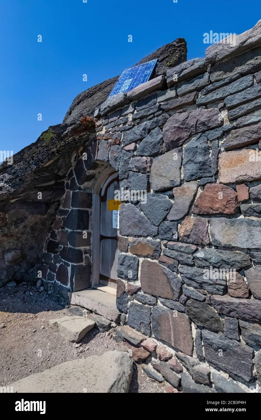 Rustic composting toilet building at Panorama Point along Skyline Trail in Mount Rainier National Park, Washington State, USA Stock Photo