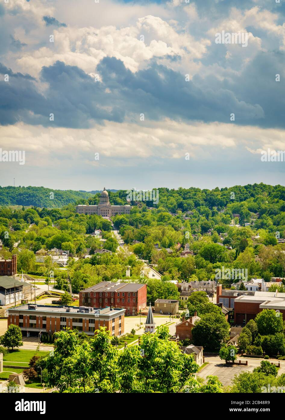 Aerial view of downtown Frankfort, KY with the State Capitol building Stock Photo