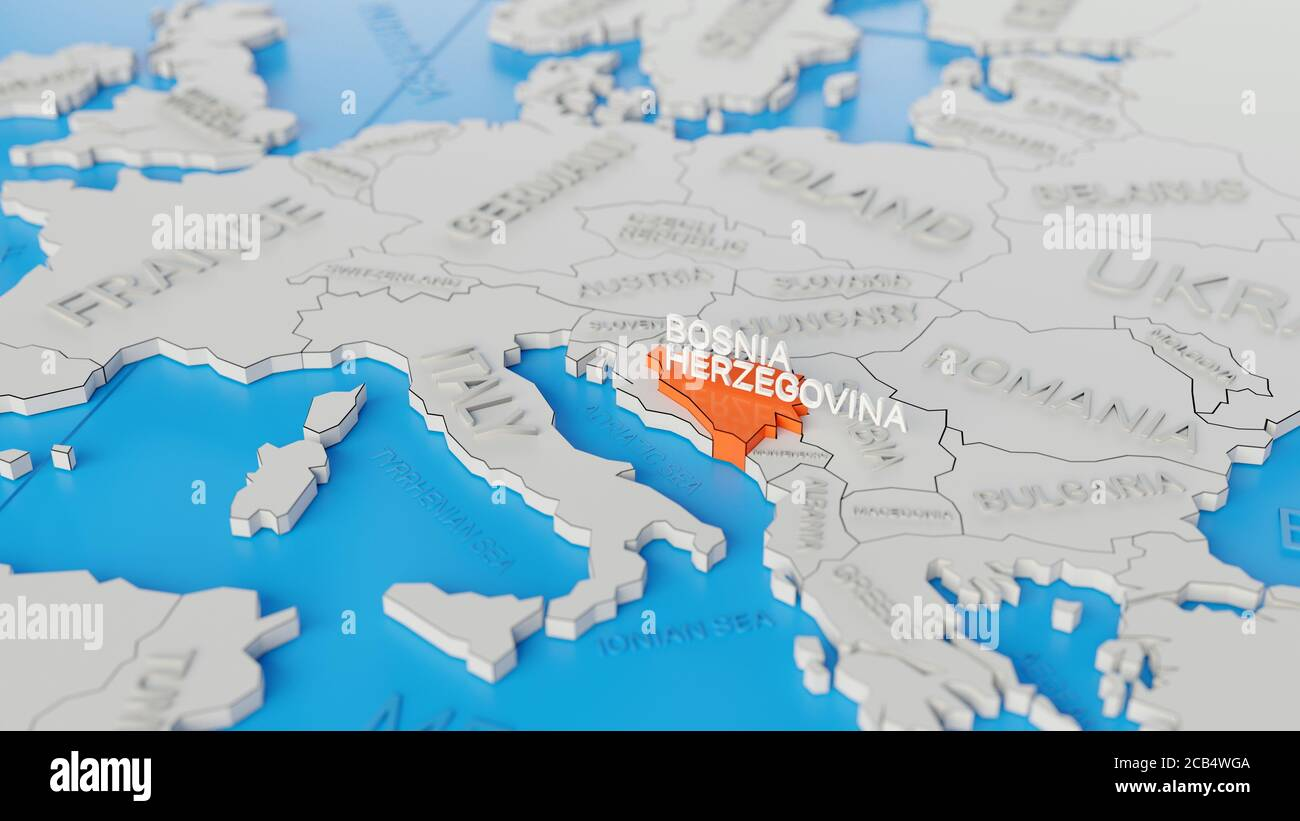 Picture of: Bosnia And Herzegovina Highlighted On A White Simplified 3d World Map Digital 3d Render Stock Photo Alamy