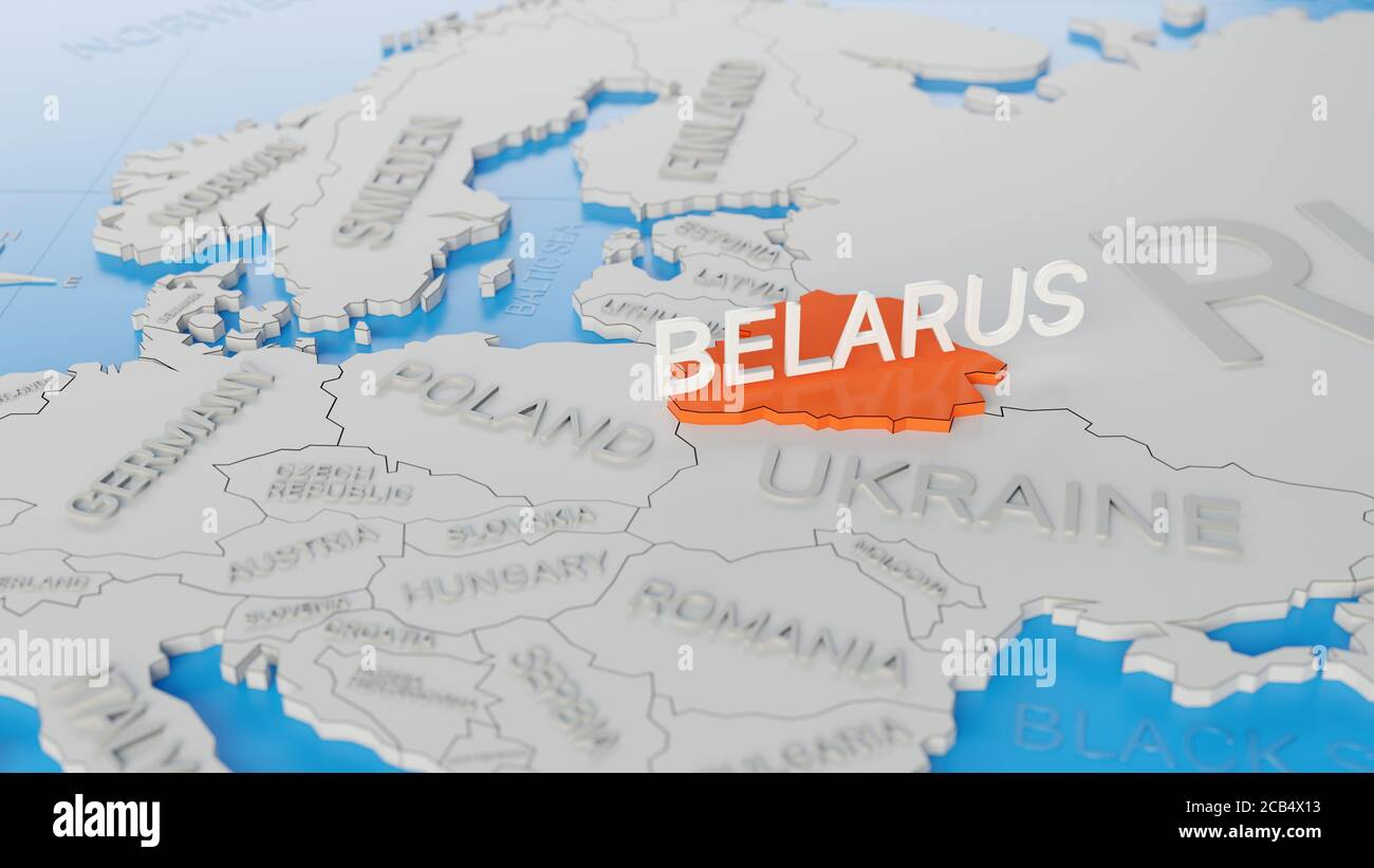 Picture of: Belarus Highlighted On A White Simplified 3d World Map Digital 3d Render Stock Photo Alamy