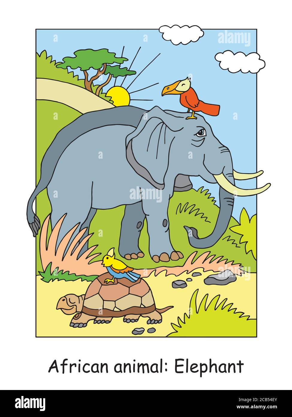 Vector Coloring Pages With Cute Elephant In African Area Cartoon