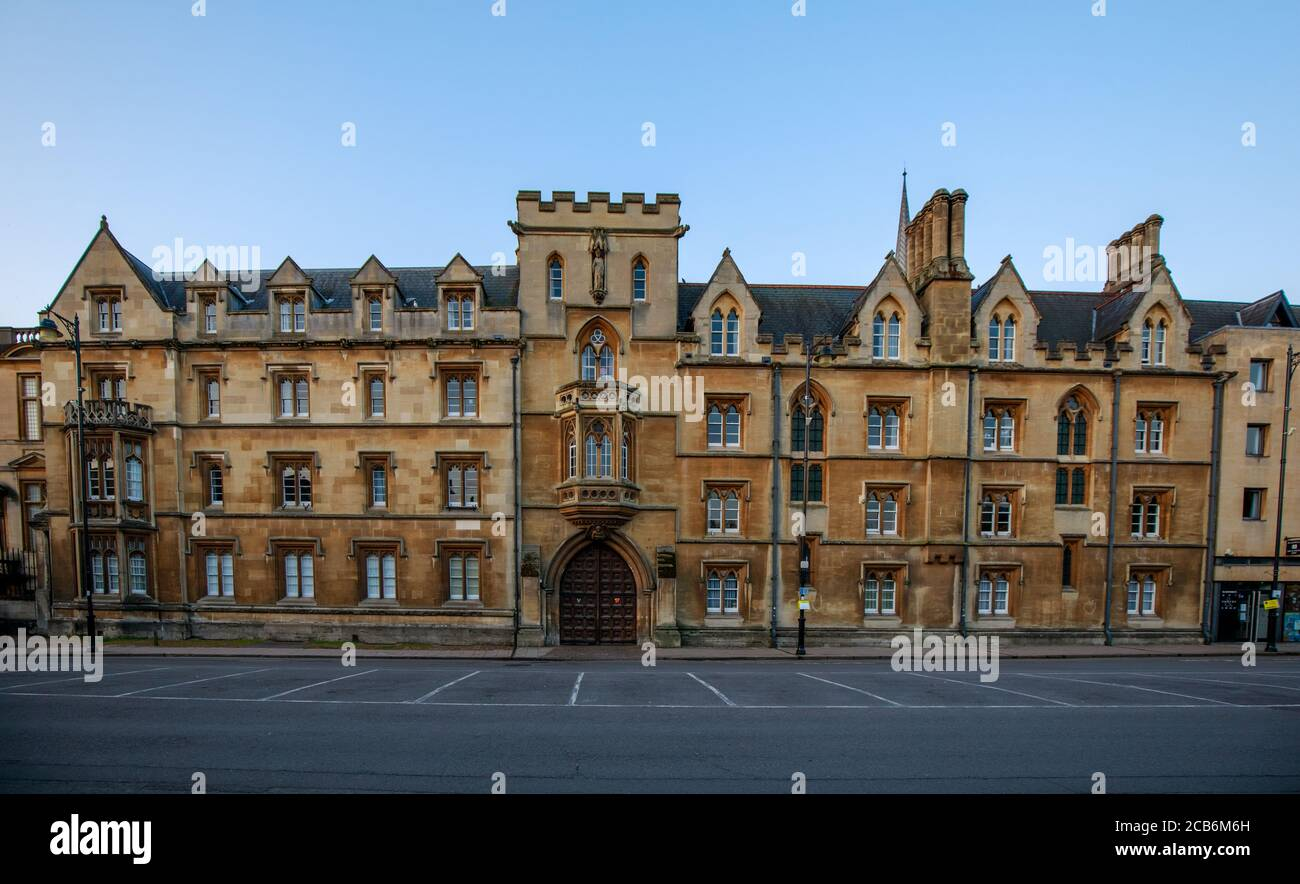 Exeter College on Broad Street in Oxford with no people or vehicles. Early in the morning. Oxford, England, UK. Stock Photo