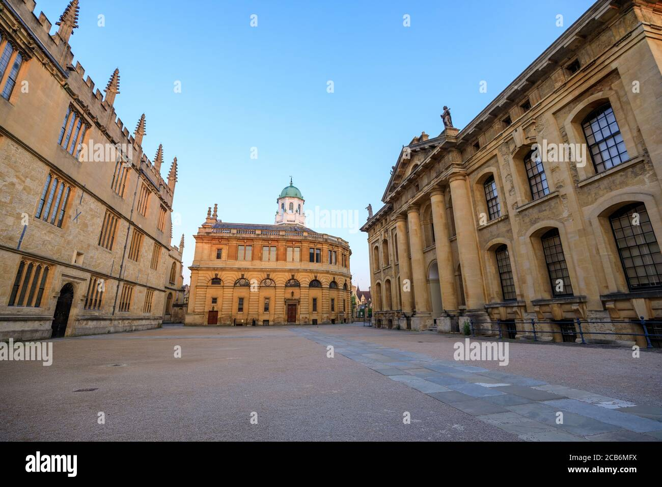 The side of the Sheldonian Theatre and the Clarendon Building with no people around, early in the morning. Oxford, England, UK. Stock Photo