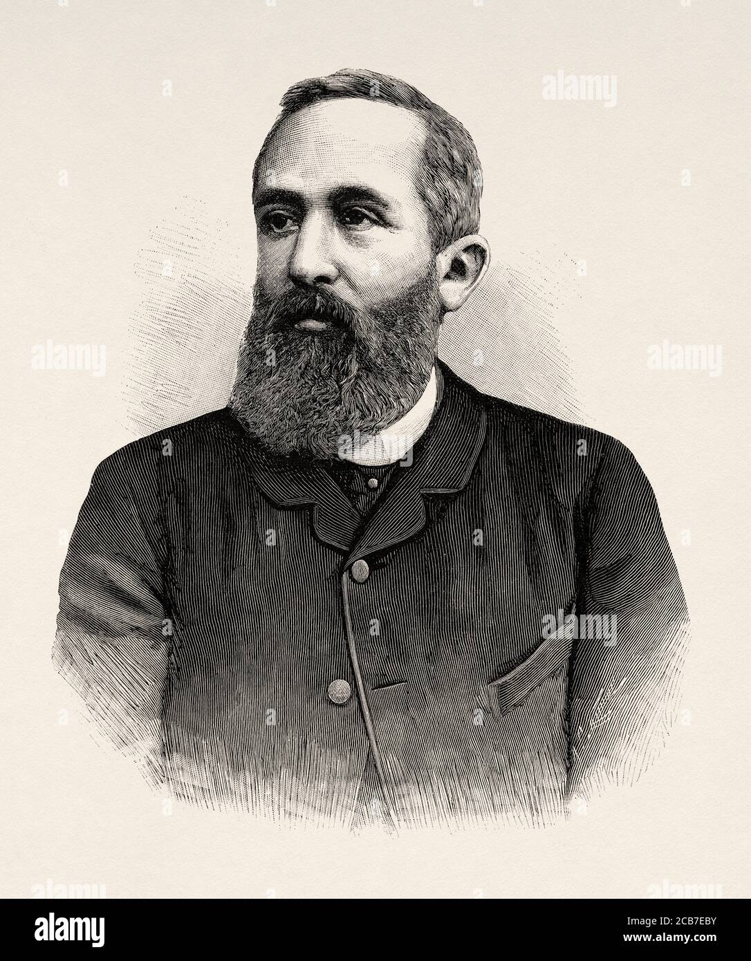 Portrait of Hermann Levi (Giessen 1839 - Munich 1900) was a German conductor, conductor of the Rotterdam, Karlsruhe and Munich operas. Germany. Old XIX century engraved illustration from La Ilustracion Española y Americana 1894 Stock Photo