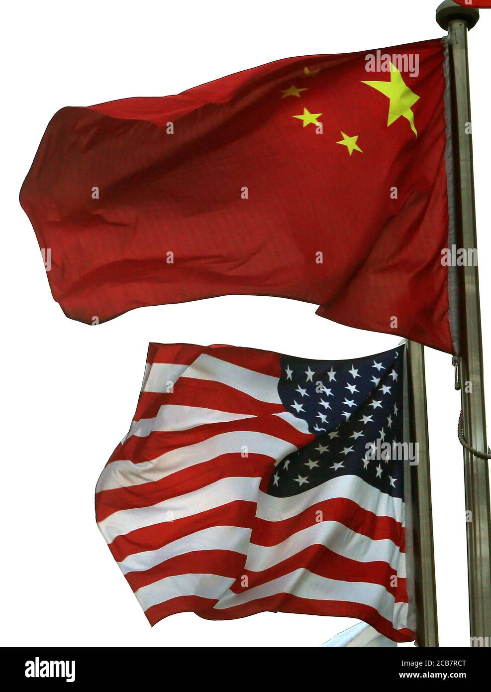 Beijing, China. 11th Aug, 2020. Both the American and Chinese national flags fly together outside an American hotel in downtown Beijing on Tuesday, August 11, 2020. Tensions between the U.S. and China continue to increase due to issues involving Hong Kong, Xinjiang, Huawei, Taiwan, espionage and China's military expansion in the South China Sea. Photo by Stephen Shaver/UPI Credit: UPI/Alamy Live News Stock Photo