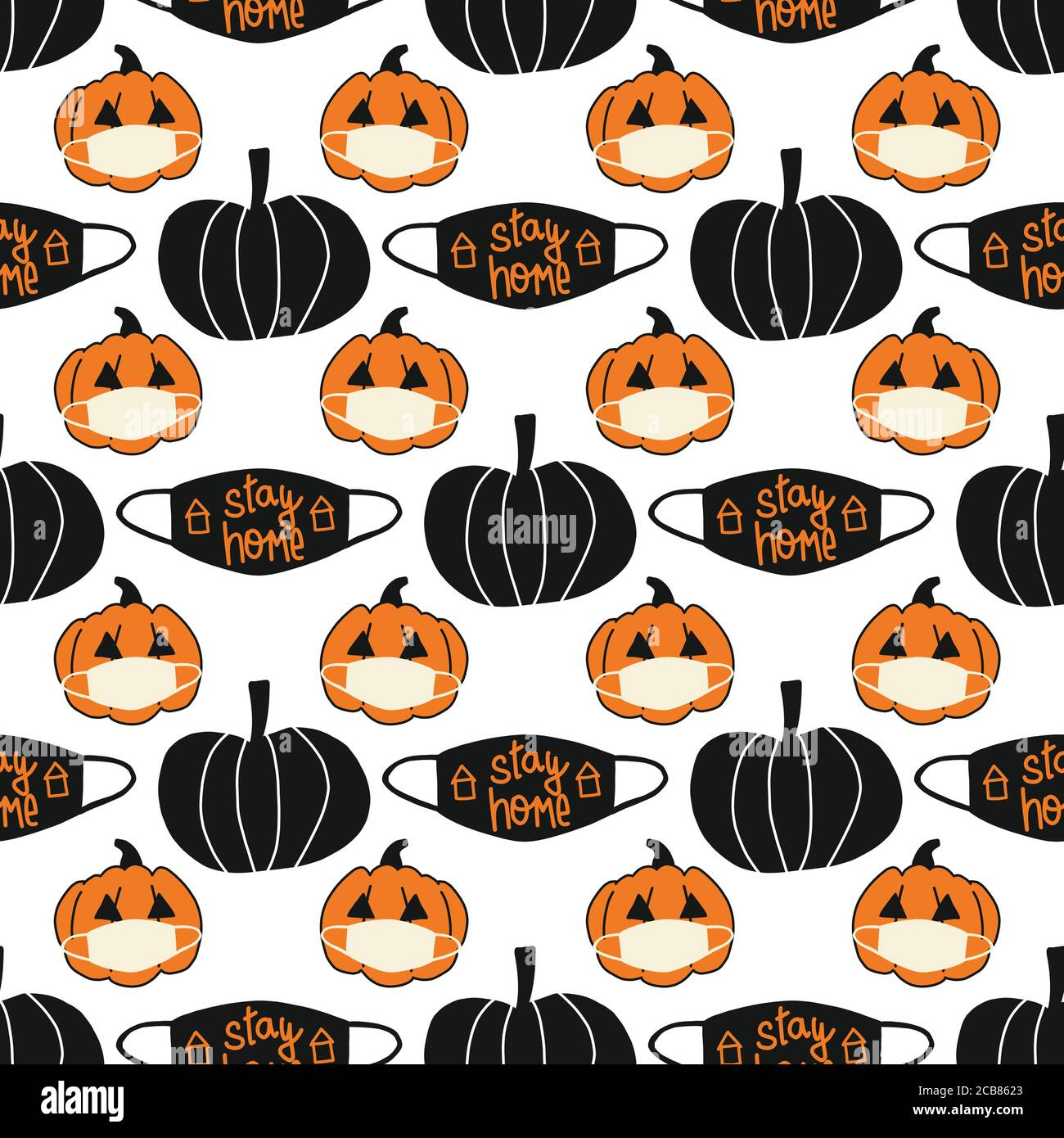 Halloween Background 2020 Halloween 2020 Stay Home seamless vector background. Repeating