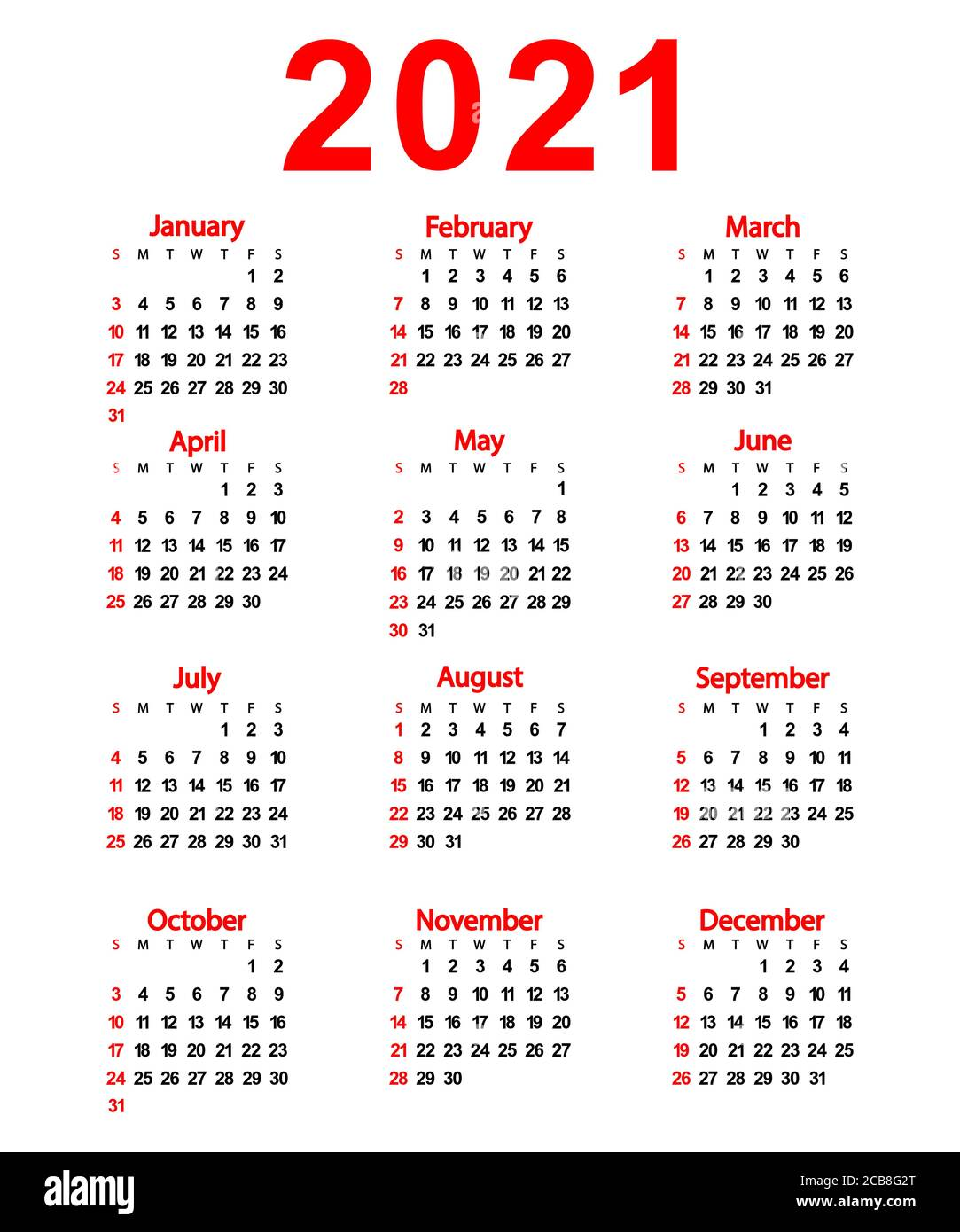 2021 Vector Calendar Calendar of the New Year 2021. Vector illustration for design