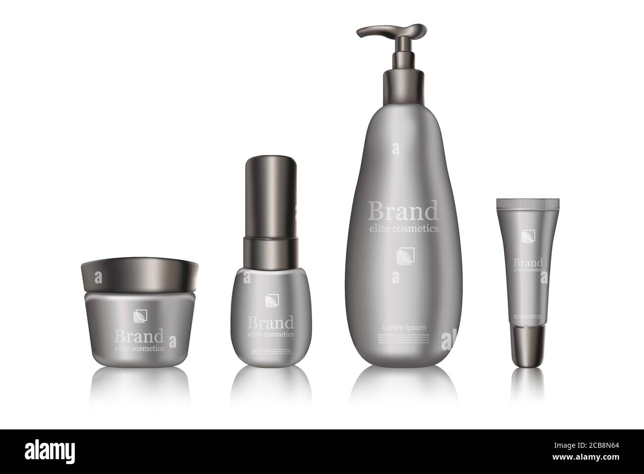 White Grey Cosmetics Branded Bottles With Brand Logo Package Design Mockup Advertisement Banner Template Skincare Realistic Products With Reflection On Light Background Mock Up Stock Vector Image Art Alamy