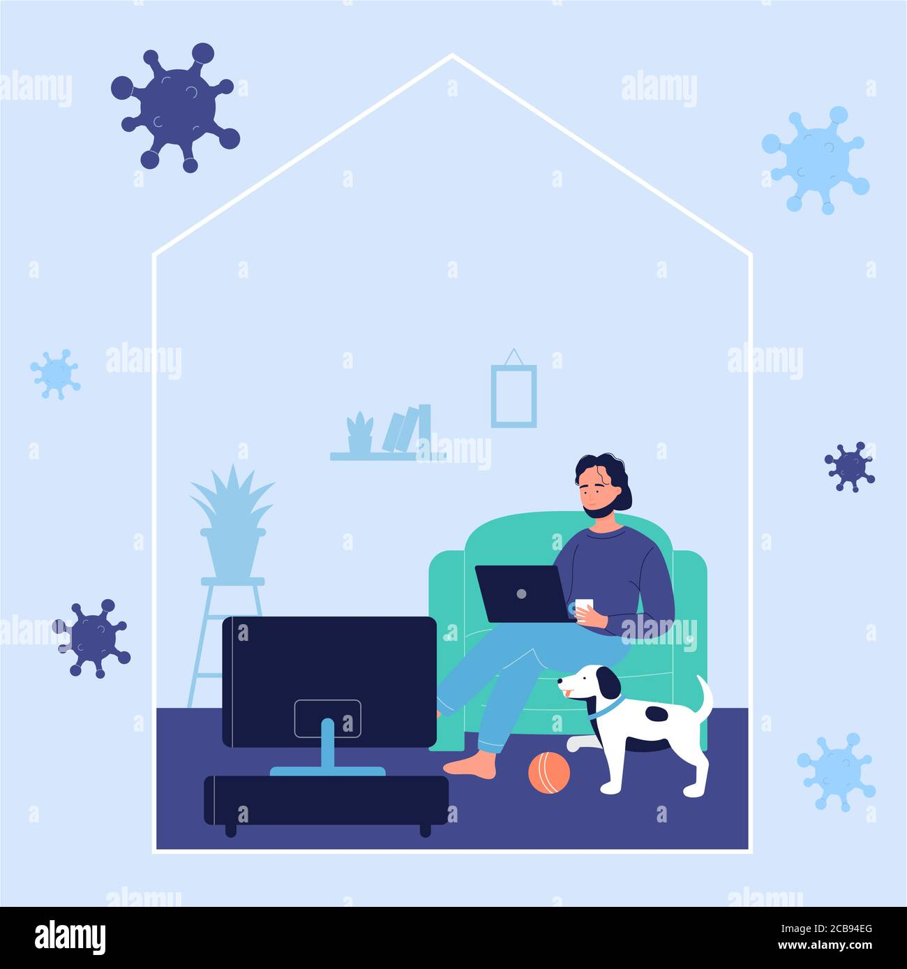 Young man resting on sofa and working online with laptop computer at home with dog during corona virus covid-19 time. Stay at home to prevent coronavirus disease, quarantine self isolation concept Stock Vector