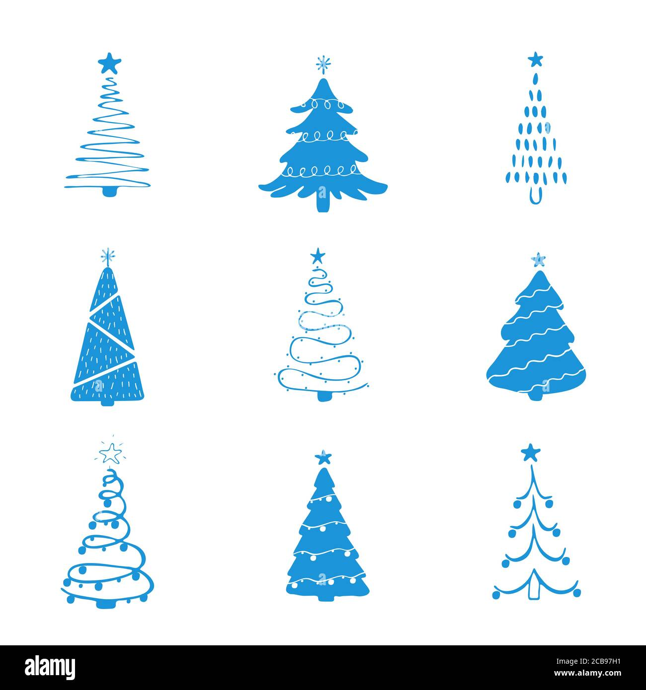 Set Of Blue Christmas Tree Icons Xmas Symbol Simple Pictogram Collection Winter Season Design Element New Year Silhouette Sign Vector Stock Vector Image Art Alamy