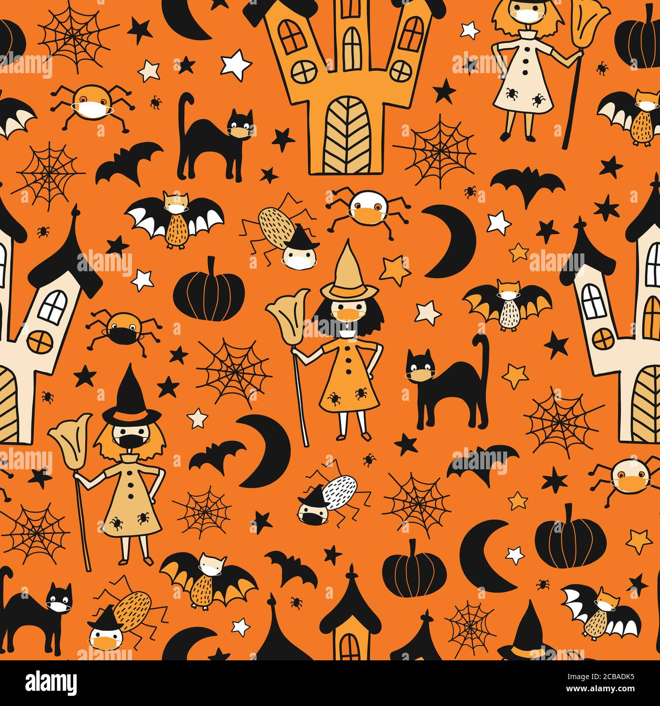 2020 Halloween Background Halloween 2020 Coronavirus kids vector pattern. Witch, cat