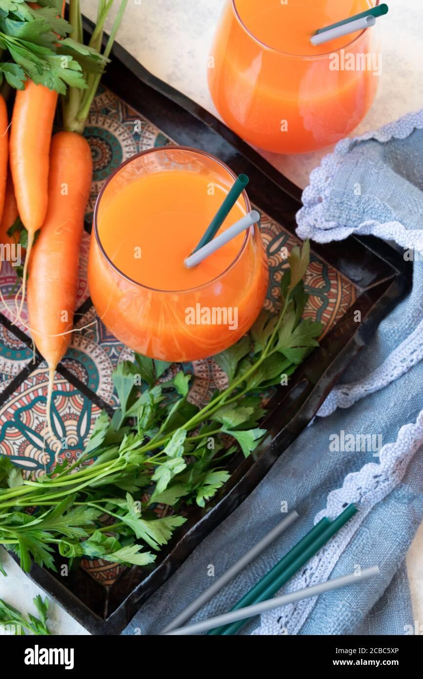 Fresh carrot juice, healthy homemade detox beverage Stock Photo