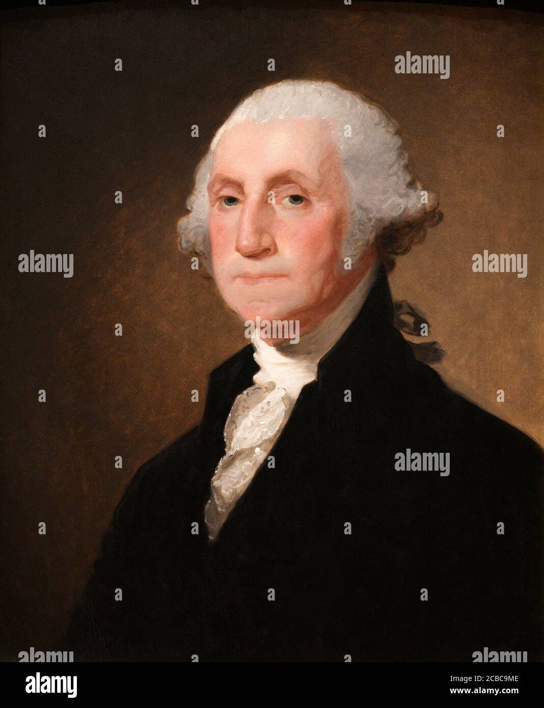 George Washington by Gilbert Stuart, oil on wood,1821 Stock Photo